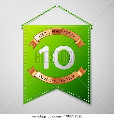 Realistic Green pennant with inscription Ten Years Anniversary Celebration Design over a grey background. Golden ribbon. Colorful template elements for your birthday party. Vector illustration