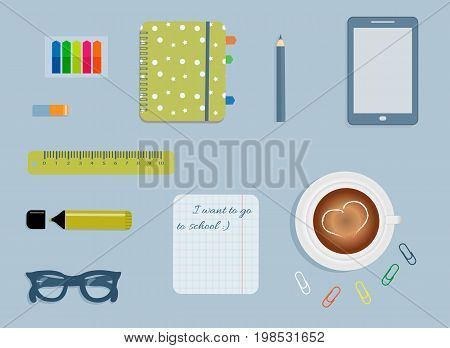 Stationery: A day planner spiral-bound with cute pattern. A tab. Glasses. A pencil. A rubber. A colorful stickers. Clips. A marker. A cup of coffee with a heart. Sheet in the box. Vector illustration