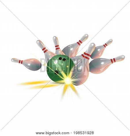 Realistic bowling icon set isolated on white background. Bowling concept. Bowling strike with ball. Vector illustration.