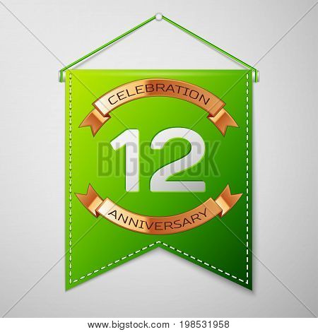 Realistic Green pennant with inscription Twelve Years Anniversary Celebration Design over a grey background. Golden ribbon. Colorful template elements for your birthday party. Vector illustration