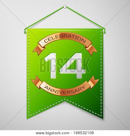 Realistic Green pennant with inscription Fourteen Years Anniversary Celebration Design over a grey background. Golden ribbon. Colorful template elements for your birthday party. Vector illustration