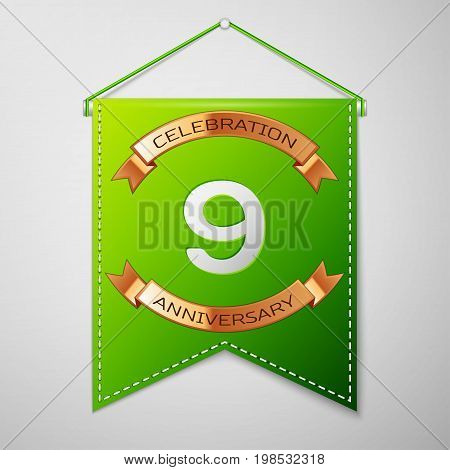Realistic Green pennant with inscription Nine Years Anniversary Celebration Design over a grey background. Golden ribbon. Colorful template elements for your birthday party. Vector illustration