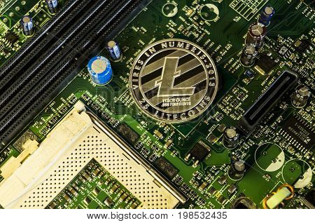 Omsk, Russia - August 4, 2017: Litecoin Is A Modern Way Of Exchange And This Crypto Currency Is A Co
