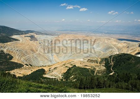 A more than two mile wide open pit mine seen from above
