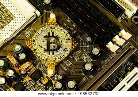 Omsk, Russia - August 4, 2017: Bitcoin Is A Modern Way Of Exchange And This Crypto Currency Is A Con