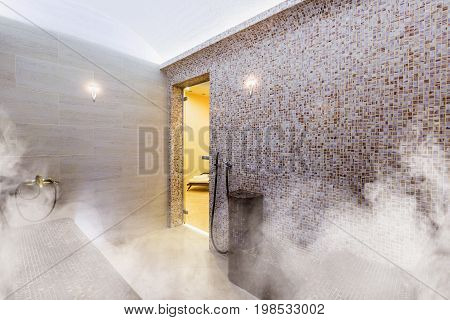 Interior of Turkish sauna, classic Turkish hammam, Turkish bathroom