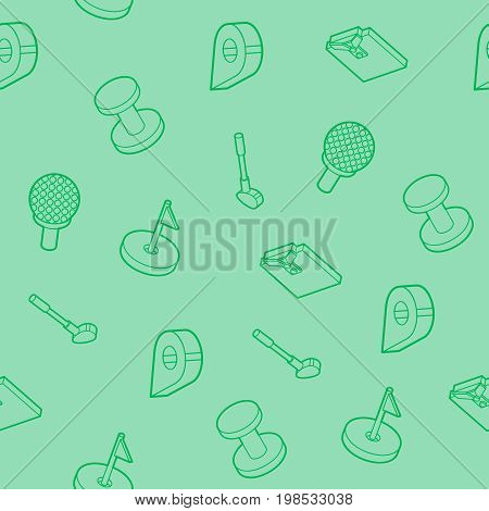 Golf outline isometric pattern. Includes such Icons as a Golf ball, hole, Golf car, field games, stick, sports uniforms, gloves, backpack