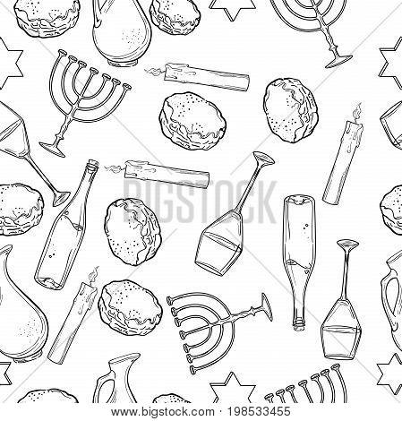 Seamless pattern with Hanukkah symbols. Vector illustration, EPS 10