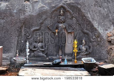 Hindu God Shiva Statue Image In Archaeological Site At Vat Phou Or Wat Phu