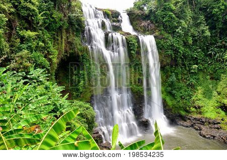 Motion And Flowing Water Of Tad Yeang Waterfalls