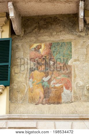 The facade of the Mazzanti House decorated with frescoes. Verona. Italy
