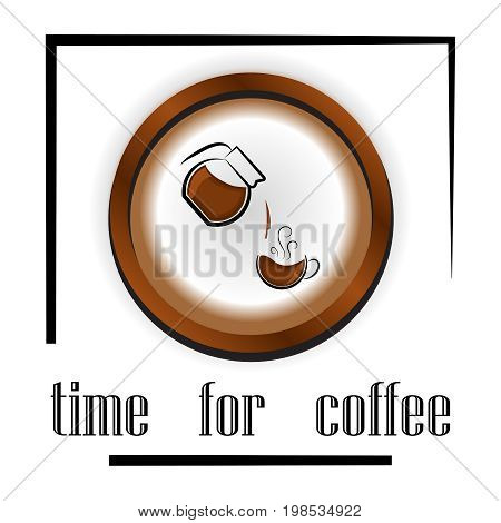 banner design for coffee shop restaurant menu cafeteria. There is always time for coffee.background with a coffee cup for cafe.Coffee banner for coffee break time.