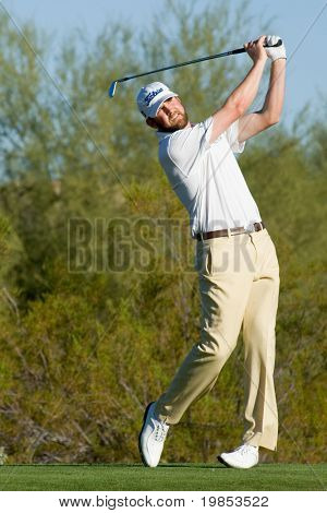 SCOTTSDALE, AZ - OCTOBER 22: D.J. Trahan hits a drive in the Frys.com Open PGA golf tournament on October 22, 2009 in Scottsdale, Arizona.
