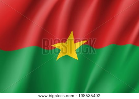Burkina Faco flag. National patriotic symbol in official country colors. Illustration of Africa state waving flag. Realistic vector icon