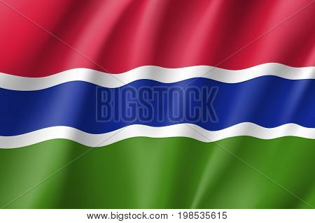 Gambia flag. National patriotic symbol in official country colors. Illustration of Africa state waving flag. Realistic vector icon
