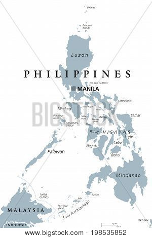 The Philippines political map with capital Manila. English labeling. Republic and sovereign island country in Southeast Asia in the Western Pacific Ocean. Gray illustration on white background. Vector
