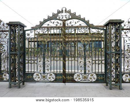 Beautiful and elaborated iron gate, Beijing Zoo, China