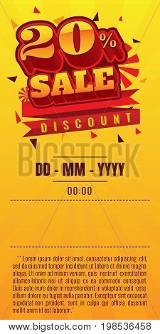 sale. discount up to 20% off. vector illustration. Sale banner