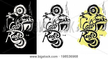 Cafe racer print t-shirt emblem. Motorcycle, helmet, text lettering