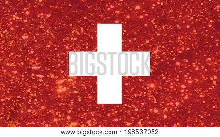 The vector Luxury red glitter Swiss Switzerland country flag icon