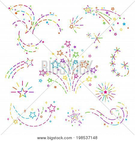 Firework, stars curls of colored dotted line graphic elements for design of card design banner web site business cards and invitations