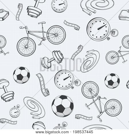 Seamless pattern with sports equipment. Vector illustration EPS10