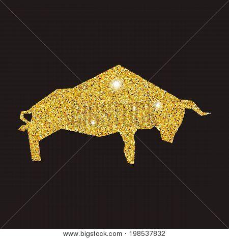 Golden bull silhouette on black background. Bull with dust glitters.