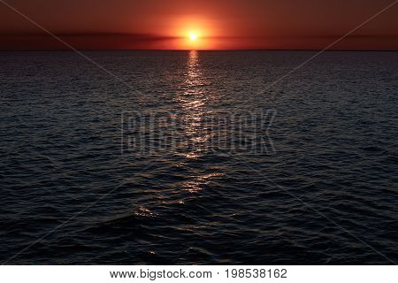Incredibly Beautiful Sunset Over Sea With Waves. Beautiful Landscapes. Gold Sea Sunset. Blazing Suns