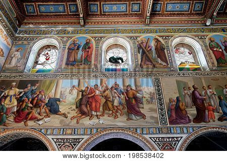 BEIT JAMAL ISRAEL - JULY 22 2017: Internal painting of the church of Stephen the First Martyr in the monastery Beit Jamal