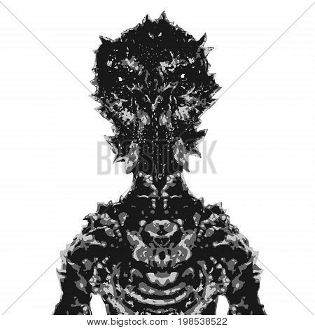 Alien astronaut. Vector illustration. Science fiction illustration. Original character the astronaut invader.