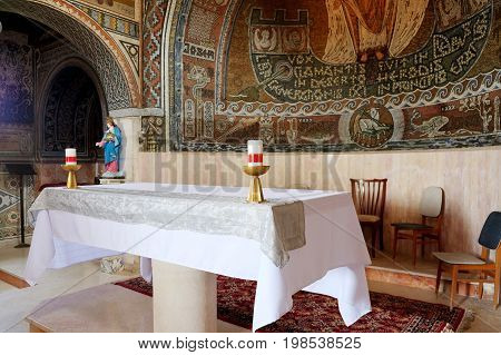BEIT JAMAL ISRAEL - JULY 22 2017: Interior of the church of St. Stephen the First Martyr in the monastery Beit Jamal