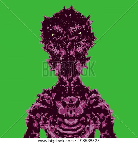Spaceman invader. Vector illustration. Science fiction original character. Original character the astronaut on green background.