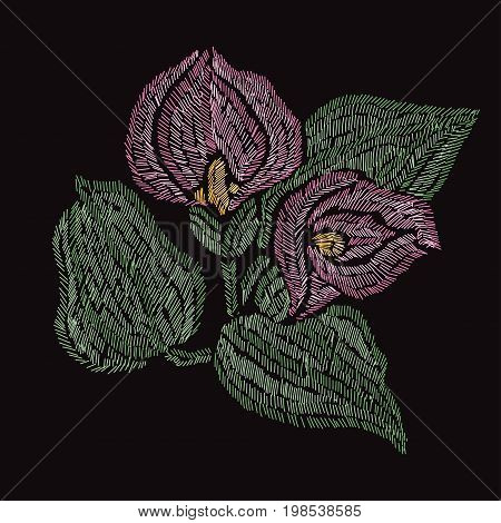 Elegant bouquet with calla flowers design element. Can be used for decorations fabrics manufacturing cards invitations. Embroidery style.
