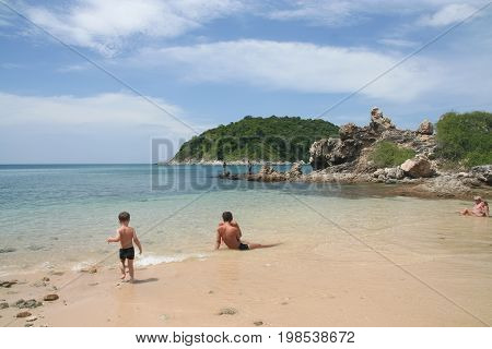 Tourist Activity On Tropical Phuket Island Beach
