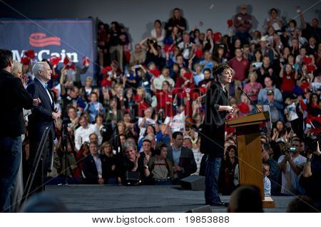 MESA, AZ - MARCH 27: Former Republican Vice Presidential candidate Sarah Palin addresses voters at a re-election rally in support of Arizona Senator John McCain on March 27, 2010 in Mesa, AZ.