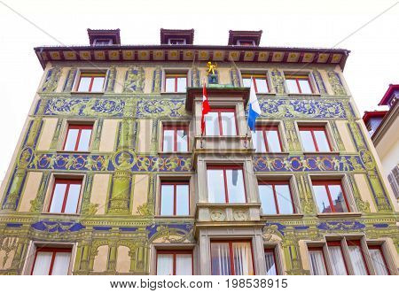 Lucerne, Switzerland - May 02, 2017: The painting on the wall of old house in Lucerne, Switzerland on May 02, 2017