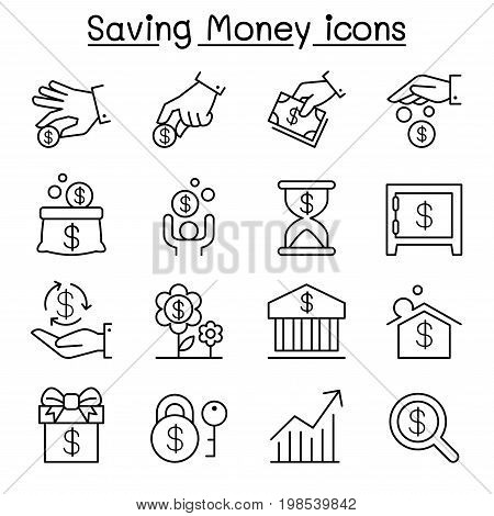 Saving money & Investment icon set in thin line style