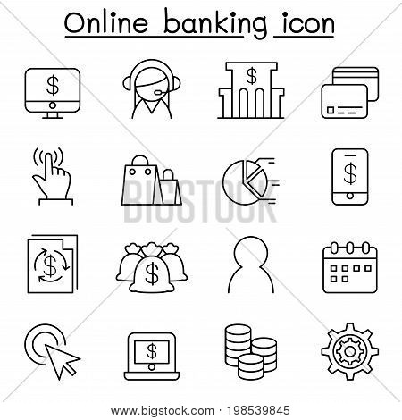Internet banking icon set in thin line style