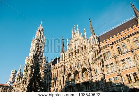 Town Hall Marienplatz in the central square of Munich, the center of the pedestrian zone and one of the main attractions of the city center. It is considered the heart of Munich.
