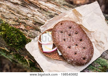 Sandwich With Bacon (pork) In The Forest