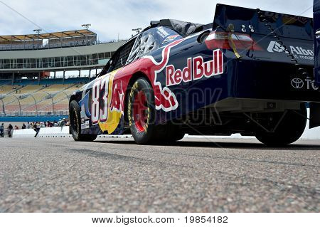 AVONDALE, AZ - APRIL 10: The #83 Red Bull Toyota car, driven by Brian Vickers, awaits the start of the Subway Fresh Fit 600 NASCAR Sprint Cup race on April 10, 2010 in Avondale, AZ.