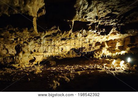 Crystal Cave horizontal, beautiful Crystals Cave are illuminated by light
