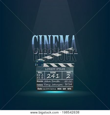 Cinema concept with directors clapper for filmmaking retro style. Vector illustration. cinema movie poster template with clapper