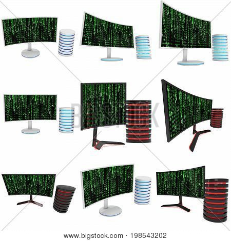Black Curved LCD tv screen and abstract matrix binary computer code set. 3d render isolated on white.