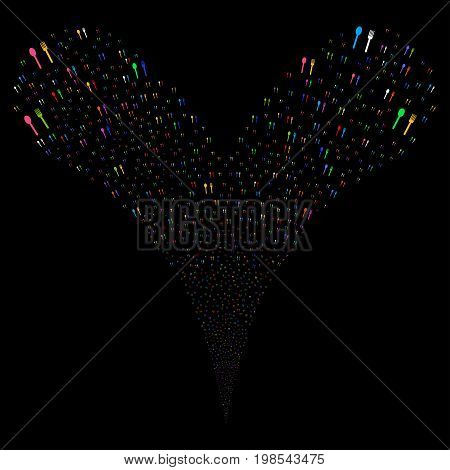 Fork And Spoon fireworks stream. Vector illustration style is flat bright multicolored iconic fork and spoon symbols on a black background. Object fountain combined from random pictographs.