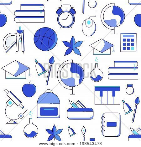 School Supplies And Symbols Seamless Pattern.