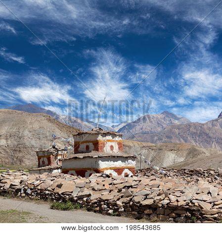 Ancient Bon stupa over mani stones in Dolpo Shey Phoksundo National Park Nepal Himalayas