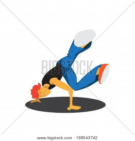 guy dancing break dance isolated on white background
