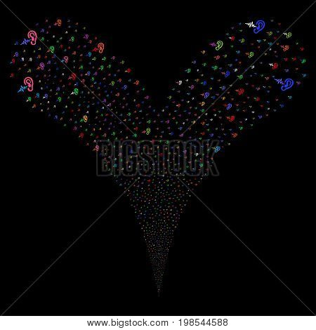 Hearing fireworks stream. Vector illustration style is flat bright multicolored iconic hearing symbols on a black background. Object fountain created from random symbols.