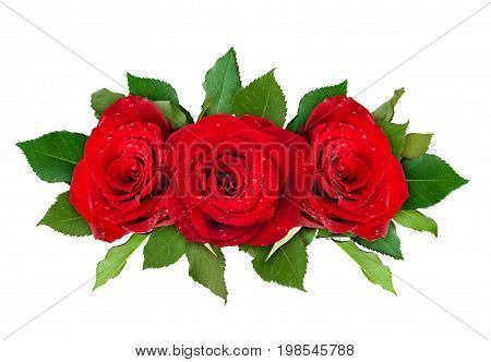 Red rose flowers arrangement isolated on white. Top view.
